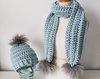 Pom Scarf and Beanie Set in Glacier with Silver Faux Fur Poms