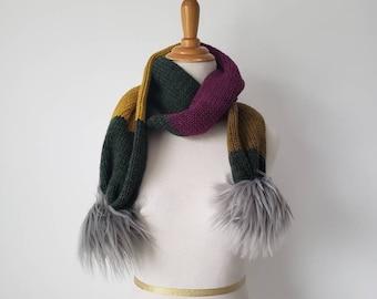 Faux Fur Pom Scarf, Knit Scarf, Soft Scarf, Faux Fur Handmade Poms - Ready to Ship