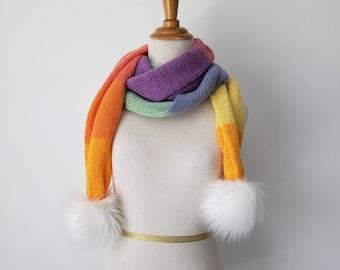 Faux Fur Pom Scarf, Rainbow Sherbet Scarf, Long Scarf,  Knit Scarf, Extremely Soft Scarf, Handmade White Poms - Ready to Ship
