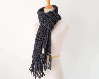 Open Ended Scarf, Chunky Scarf, Fringe Scarf, Knit Scarf, Traditional Scarf, Scarf for Men, Crochet Scarf, Ribbed Scarf