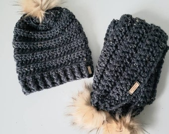 Faux Fur Pom Scarf and Beanie Set in Graphite