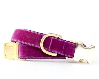 Luxe Velvet Dog Collar in Plum - Winter Dog Collar in Purple - Classic Velvet - Vintage Style