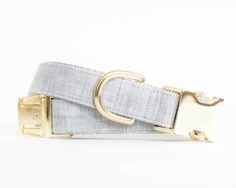 Light Grey Linen Dog Collar