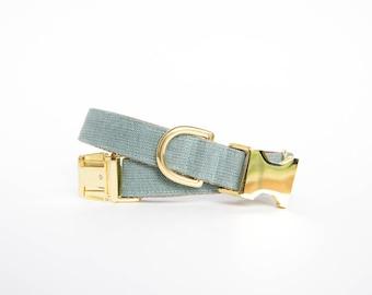 Washed Linen Dog Collar - Slate Blue