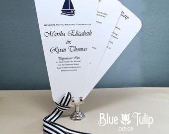 Preppy Sailboat Nautical Wedding Fan Program