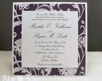 Purple Crysanthemum Layered Square Wedding Invitation