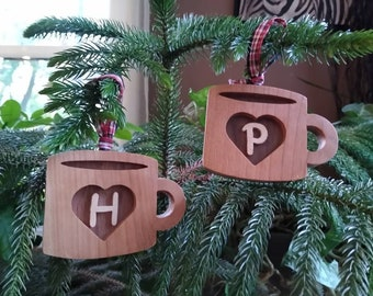 Initial coffee cup ornaments