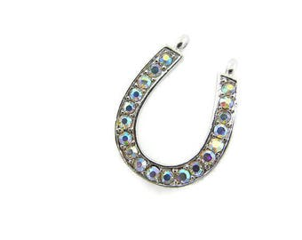 Horseshoe pendant etsy rhinestone horseshoe pendant double link western silver tone pendant aloadofball Gallery