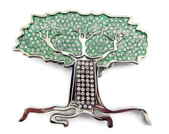 Tree of Life Belt Buckle Silver-tone