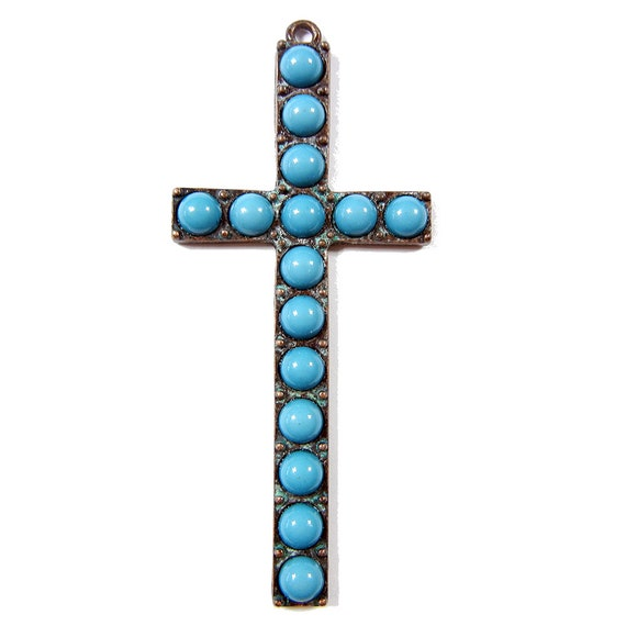 Burnished Copper Tone Elongated Cross Pendnat With Round Etsy