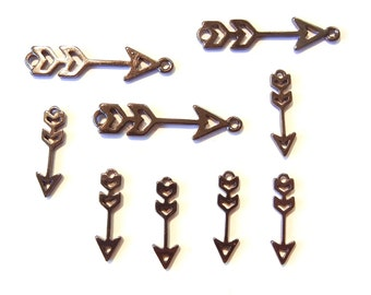 Set of 9 Cut Out Hematite Arrow Charms