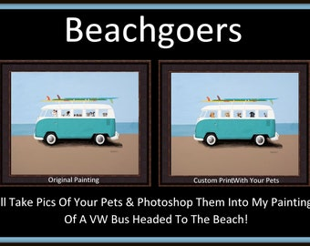 Custom Giclee Print Of Your Dogs In Tim Campbell/'s Christmas VW Bus Painting