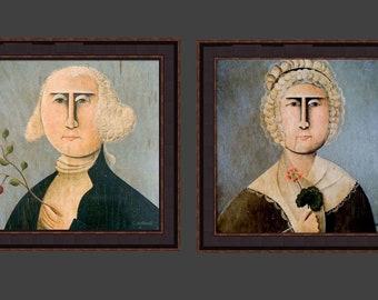 George & Martha Washington Primitive Portraits Giclee Print by Tim Campbell