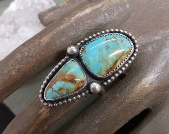 Double Turquoise + Sterling Silver Statement Ring Size 7
