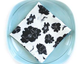 Organic Napkins, Eco Friendly Cloth Napkins, Reusable - Black & White Graceland Floral, Set of Four