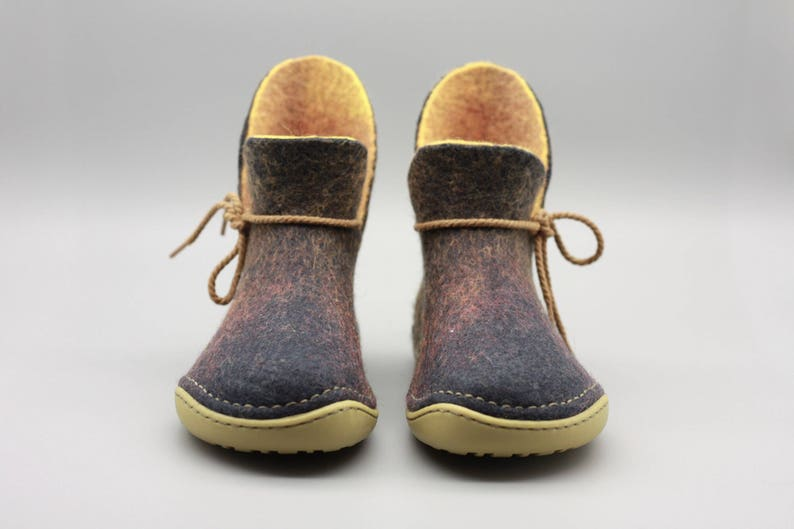 b2501e684bb5d LUCIELALUNE handmade felted wool women ankle boots rubber soles outdoor  unisex shoes ASB11