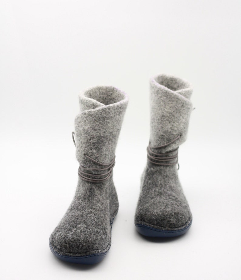 5472afd6cf1c3 LUCIELALUNE Gray fairy winter boots handmade felted wool women strapped  boots eco fashion design