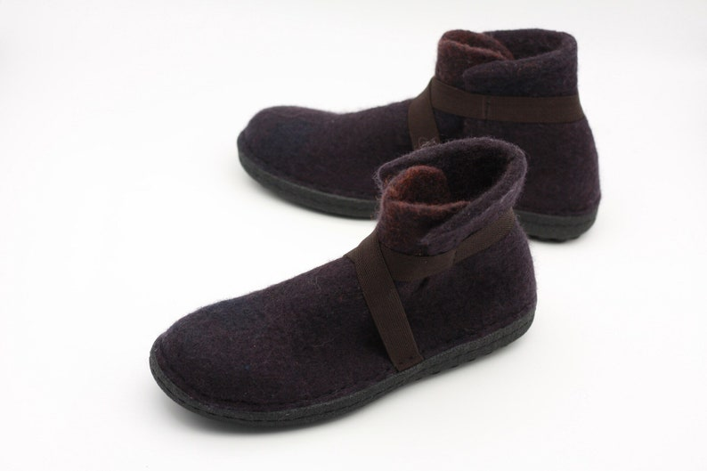 bfcb5683eeec8 LUCIELALUNE EU39.5 US9 US6.5/ handmade merino felted wool / women ankle  boots rubber sole / springwinter outdoor shoes ASB12