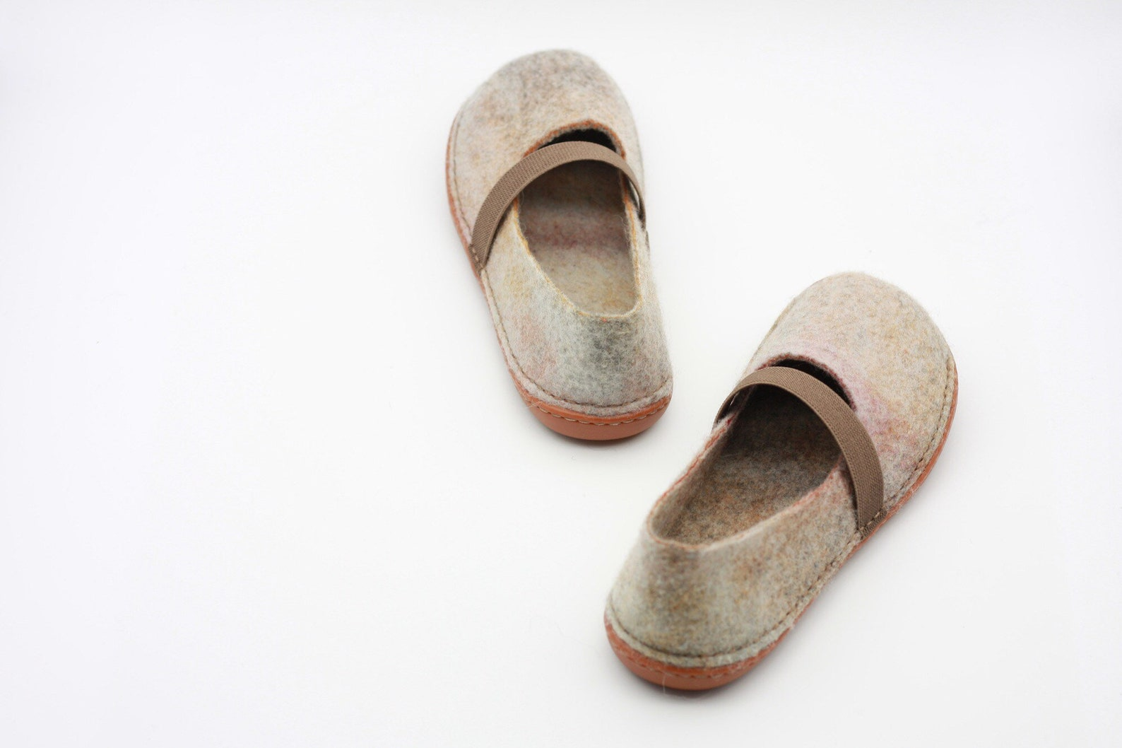 lucielalune /eu39 us8.5 uk6 / women's flat ballet shoes / spring autumn / handmade felted merino wool slippers / slip on sho