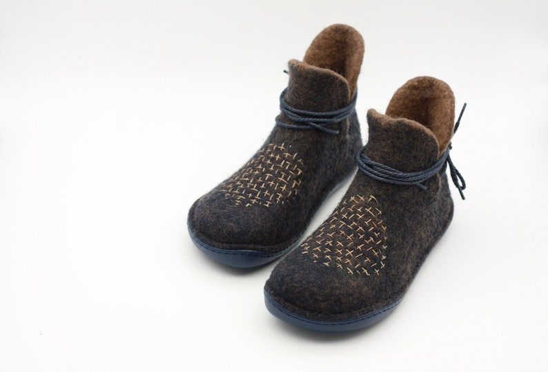 701d4d2dcb063 LUCIELALUNE lazzy boots modern embroidery felted wool snow boots handmade  eco design women ankle boots light footwear