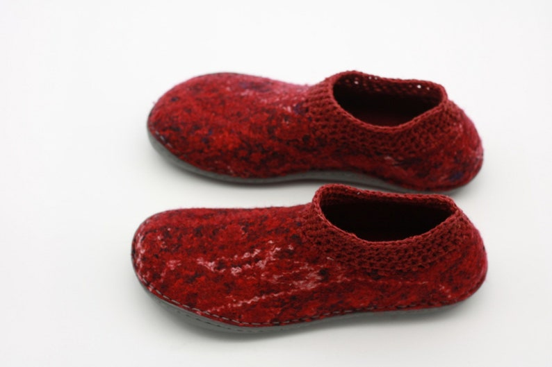 1d22b85e2f63c LUCIELALUNE / spring shoes /cotton textured + crochet / handmade felted  merino wool/ ankle boots