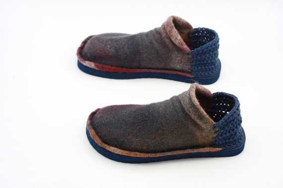 a5cbbfbe7dbb5 LUCIELALUNE US9 EU39.5 spring felted wool loafers sandals shoes / hand  crochet /barefoot slip on/AS15