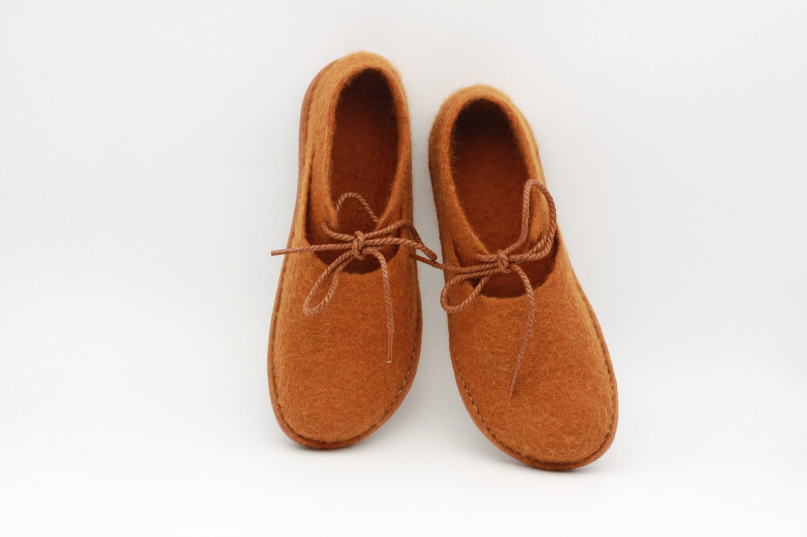 lucielalune / spring ballet shoes/eu38 us7.5 uk5 / caramel color/ women/ handmade felted wool/