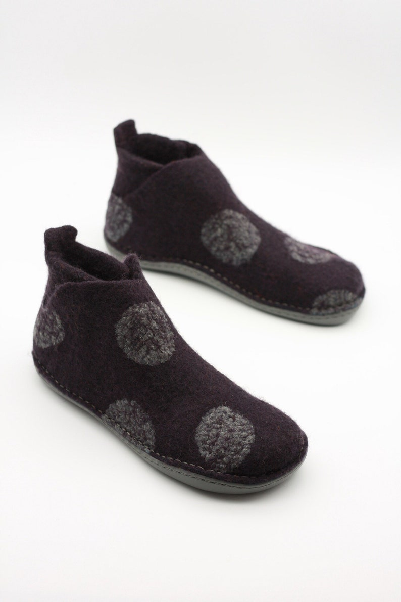 558fd01b7db36 LUCIELALUNE gray dots /dark ink ankle boots/ men women/ handmade felted  wool/ slip ons spring boots