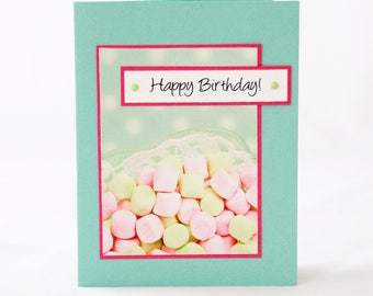 Happy Birthday Card - Turquoise and Pink