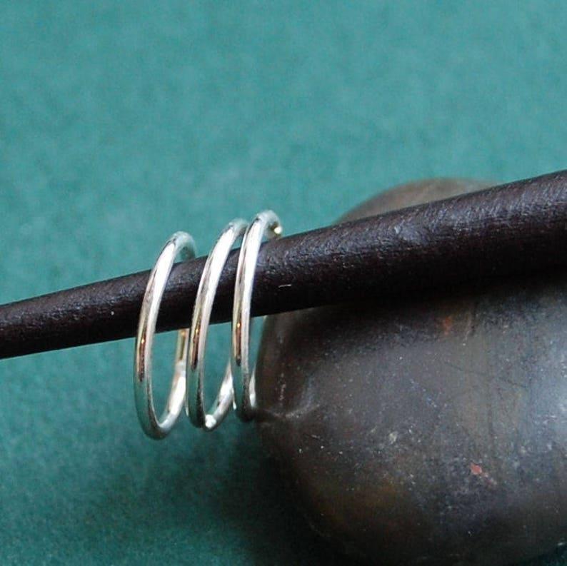 Choose Your Size Multiple Piercing Silver Set of 3 Endless Hoop Earrings Cartilage Tragus Daith Helix Sleeper Hoop Earrings