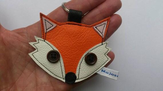 Recycled handmade orange leather fox keyring fox keychain  0e6854ae887f
