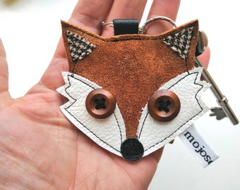 Recycled leather, handmade,rust leather, fox keyring, fox keychain, leather keyring, leather keychain, applique keyring keychain, mojosewsew