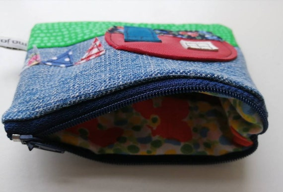 Coin Pouch Seagull Fish Canvas Coin Purse Cellphone Card Bag With Handle And Zipper
