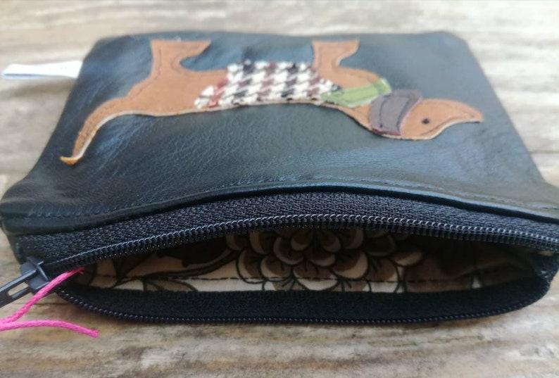 black recycled leather purse dachshund purse applique coin purse dachshund coin purse change purse dog pouch weiner purse animal purse