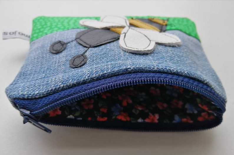 New bee appliqu\u00e9 purse denim bee purse Manchester bee coin purse bee pouch coin purse leather bee leather applique recycled bee mojosewsew