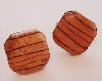 vintage wood grain cuff links