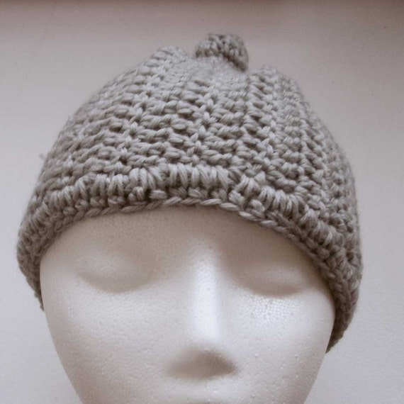 deadstock vintage hand-knit crocheted gray beanie