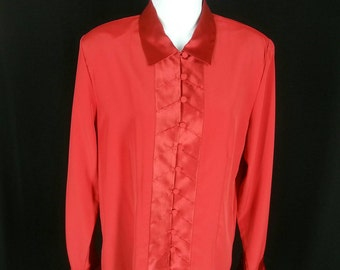 bda9162ceeec9e Vintage red long sleeve blouse 70s 80s Worthington satin and moleskin like  polyester Medium M size 8 US 10 UK chest 40in. 51mm