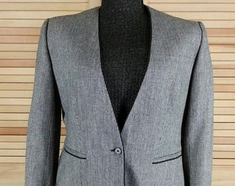 Vintage 80s black & gray houndstooth cropped blazer jacket small to medium chest 40 USA
