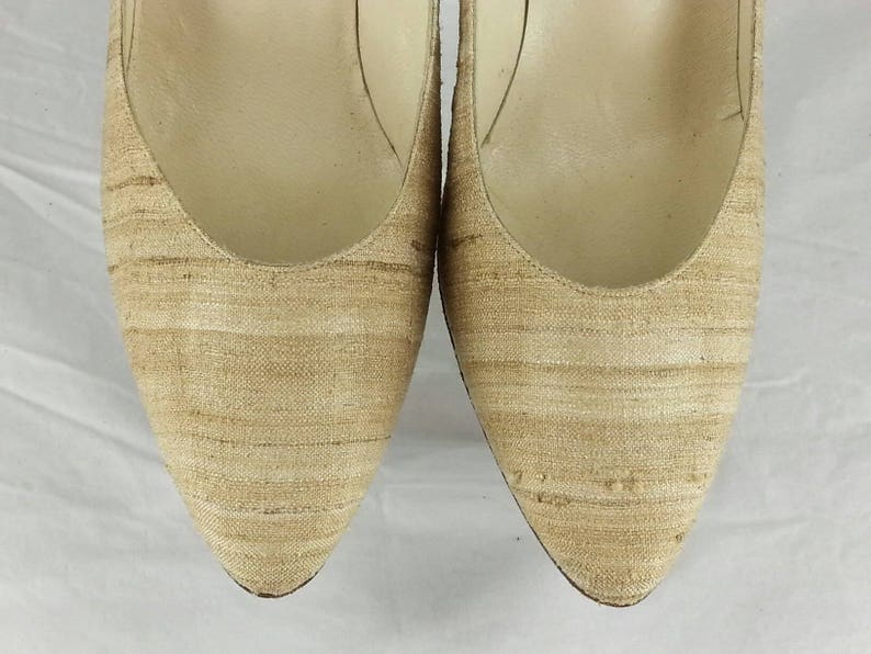 245b4df7e5a85 Vintage 80s silk covered leather heels pumps Stuart Weitzman for Martinique