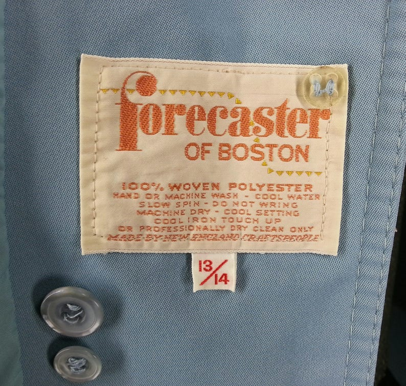 Vintage 70s blue all weather coat fully lined Forecaster of Boston Made by New England Craftspeople size 13 14 chest 42
