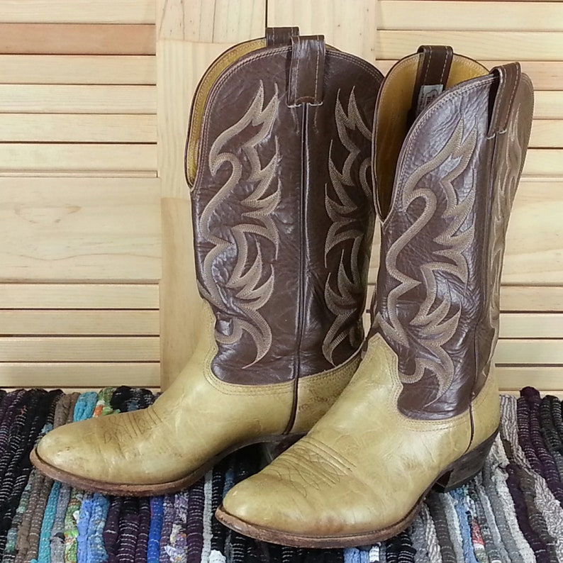 6f1d1f26618 NOCONA Mens Brown Bullhide Leather Western Cowboy Boots Size 9.5 EE