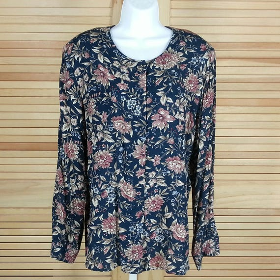 Vintage Talbots rayon crepe blouse floral print long sleeves size 12 chest 42 Made in USA