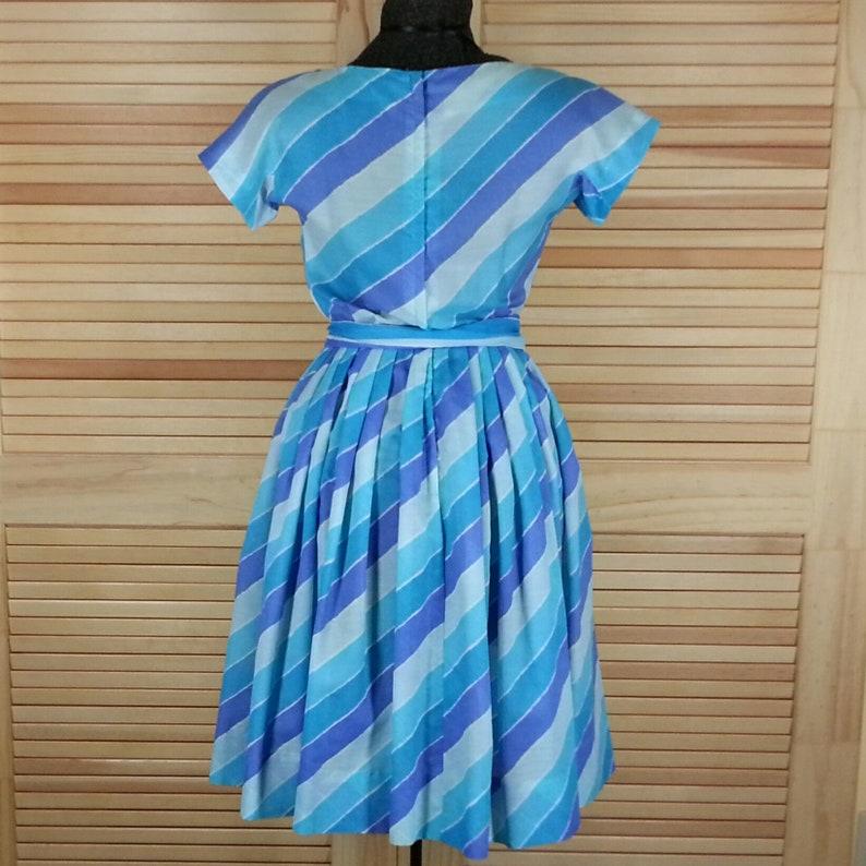 Vintage 60s blue stripe dress size S chest 36