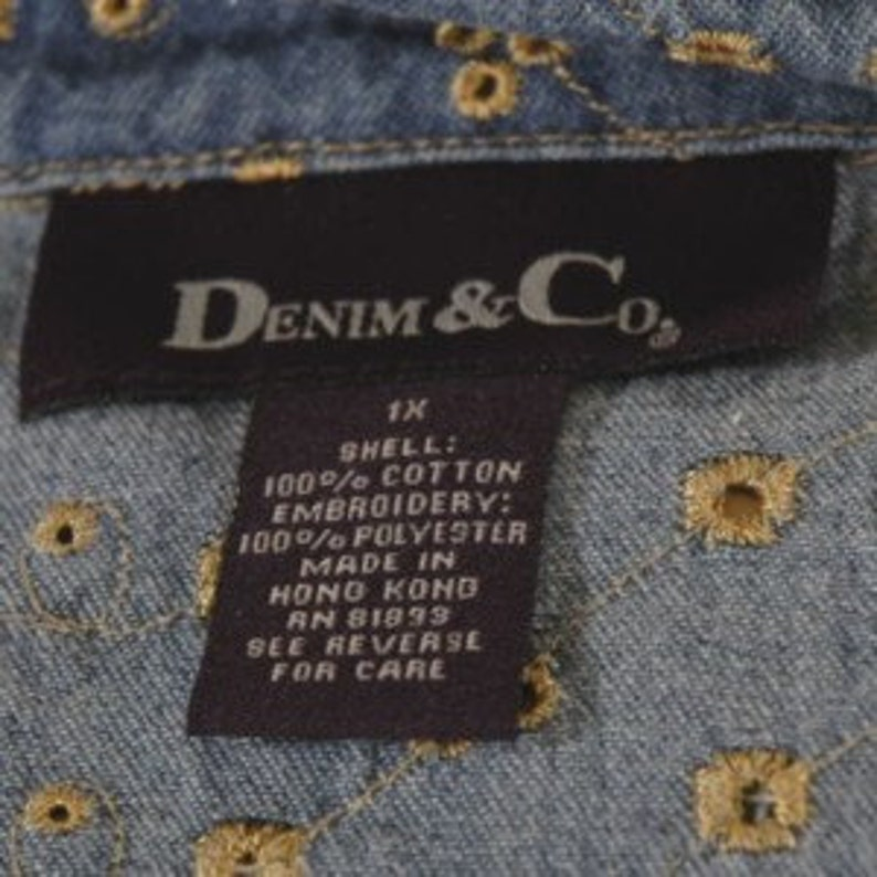 Denim Embroidered Shirt Size 1X chest 50 Denim /& Co.