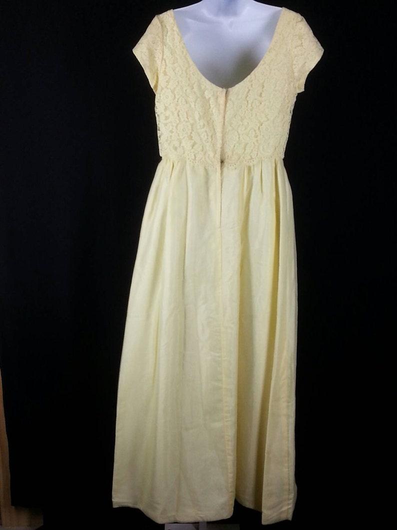 VTG 60er Jahre gelb Maxi-Kleid mit Spitze bedeckt Mieder ...