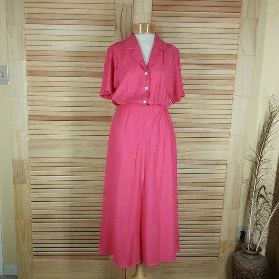 Vintage coral shirtwaist shirt dress washable rayo