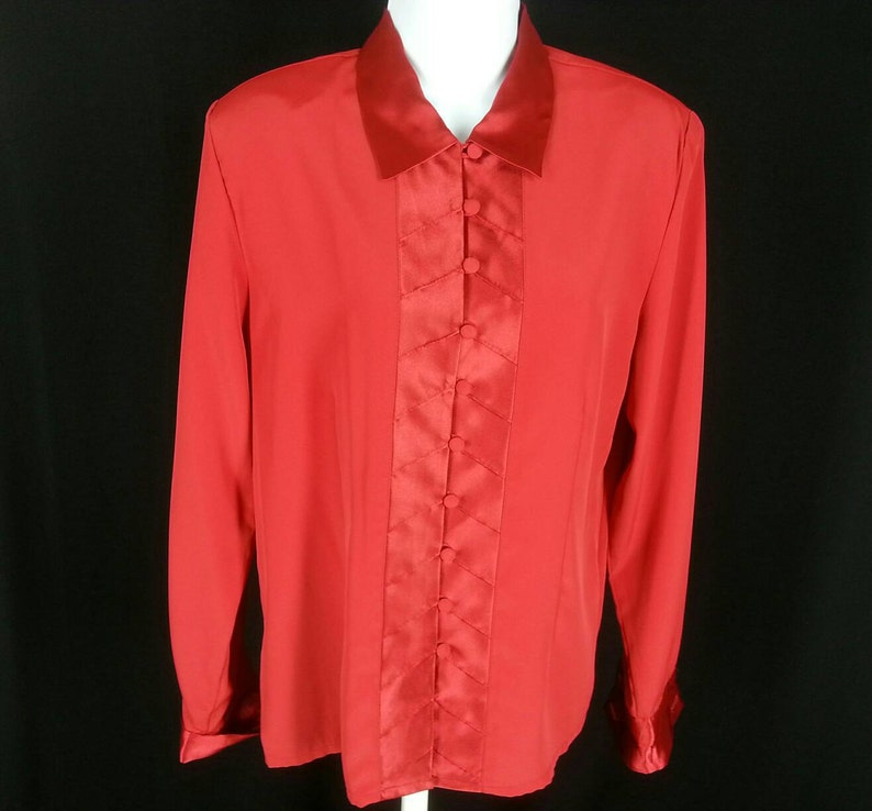 490edcd9 Vintage red long sleeve blouse 70s 80s Worthington satin and | Etsy