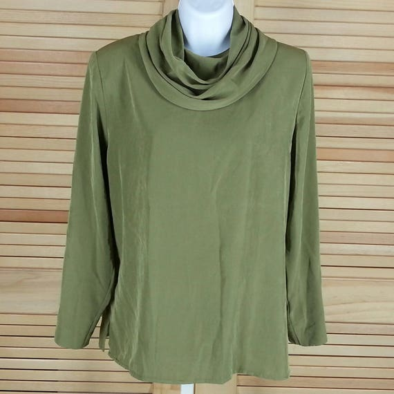 Vintage green blouse long sleeve pullover Howard Wolf size 2 small chest 40 Made in USA