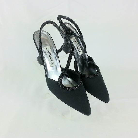 Vintage 90s black beaded strappy heels Size 8.5